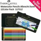 Faber-Castell Albert Durer Watercolor Pencils 12 Color Pack with Tin Case